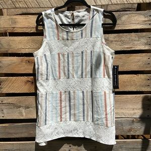 NWT! Coco Bianco Striped Linen Sleeveless Top